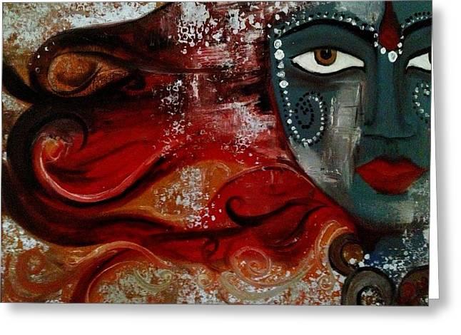 Hindu Goddess Paintings Greeting Cards - Shakti Greeting Card by Bimi Felix