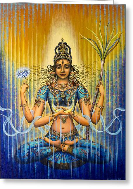 Tantra Greeting Cards - Shakti flow Greeting Card by Vrindavan Das