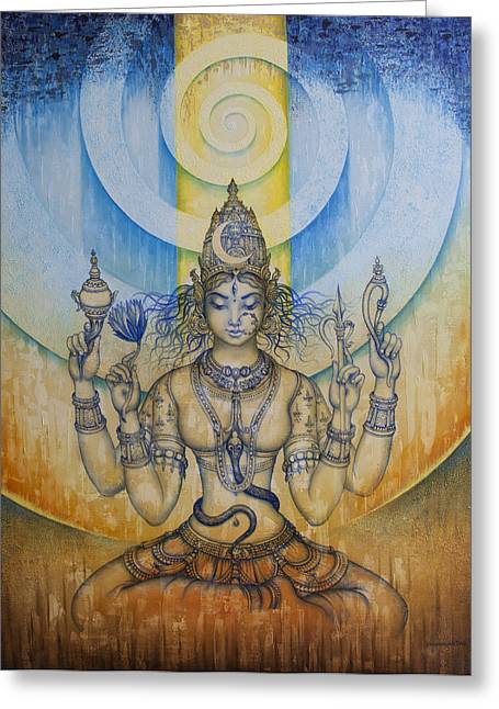 Samadhi Greeting Cards - Shakti - Tripura Sundari Greeting Card by Vrindavan Das