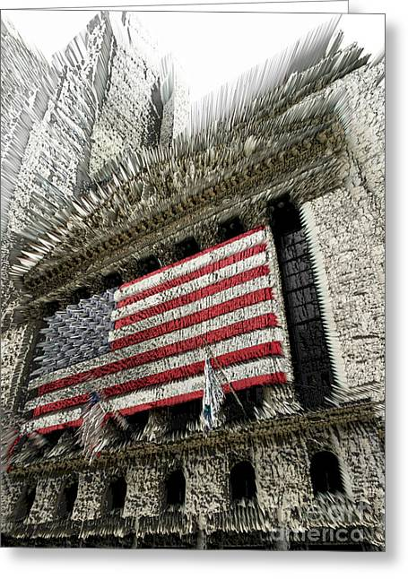 Wall Street Greeting Cards - Shaky investments Greeting Card by David Bearden