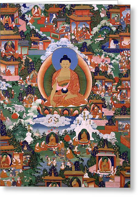 Religious Artwork Paintings Greeting Cards - Shakyamuni Buddha with Avadana Legend Scenes Greeting Card by Unknown
