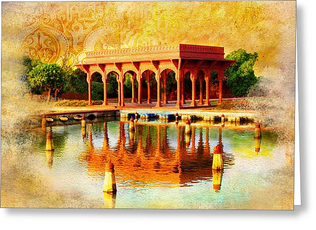 Akbar Shahjahan Greeting Cards - Shalimar Gardens Greeting Card by Catf