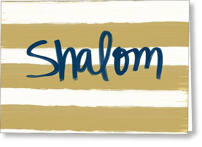 Calligraphy Print Mixed Media Greeting Cards - Shalom- Blue with Gold Greeting Card by Linda Woods