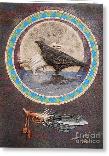 Native American Indian Medicine Wheel Greeting Cards - Shaman Black Raven and His Mate Medicine Woman Blue Fairy Animal Spirit Medicine Wheel Greeting Card by Duane West