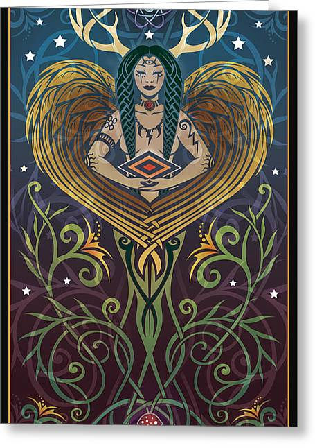 Art Deco Greeting Cards - Shaman Greeting Card by Cristina McAllister
