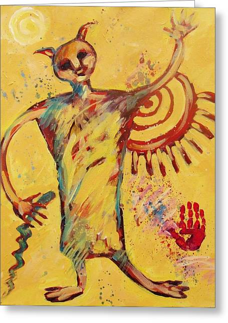 American Primitive Art Greeting Cards - Shaman Greetings Greeting Card by Carol Suzanne Niebuhr