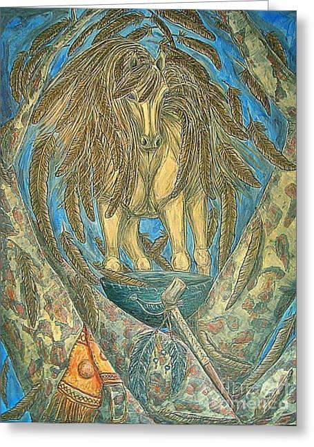 Recently Sold -  - Native American Spirit Portrait Greeting Cards - Shaman Spirit Greeting Card by Kim Jones