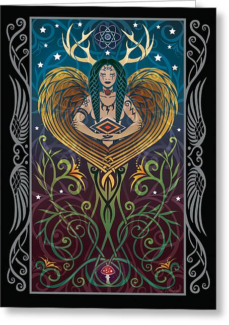 Aged Art Greeting Cards - Shaman v.2 Greeting Card by Cristina McAllister