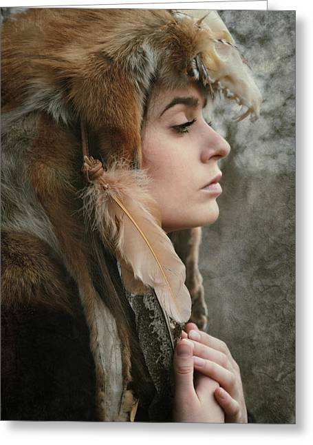 Spiritual Animal Greeting Cards - Shaman Greeting Card by Wojciech Zwolinski