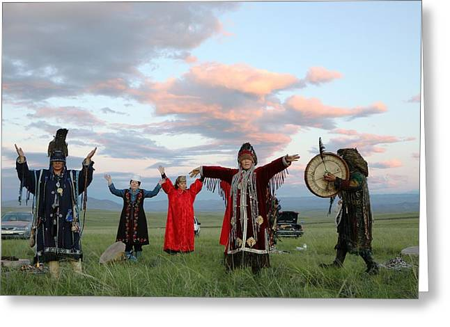 Shaman Greeting Cards - Shamans performing a ritual Greeting Card by Science Photo Library