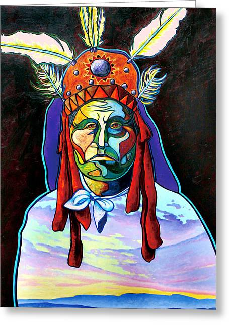 Portrait With Mountain Greeting Cards - Shamans Power Greeting Card by Joe  Triano