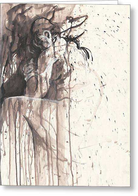 Drip Drawings Greeting Cards - Shame Greeting Card by Melinda Dare Benfield