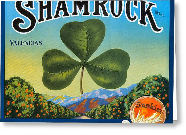 Three Leaves Greeting Cards - Shamrock Crate Label Greeting Card by Label Art