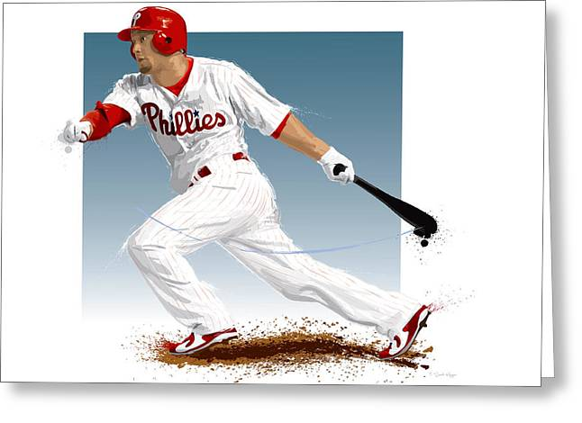 Shane Victorino Greeting Card by Scott Weigner