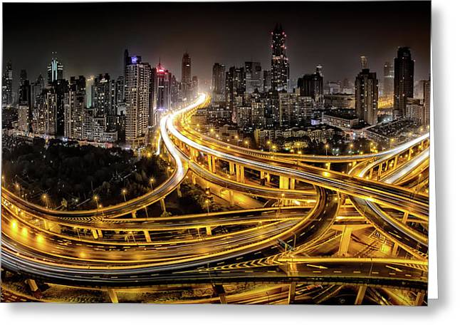 Shanghai At Night Greeting Card by Clemens Geiger
