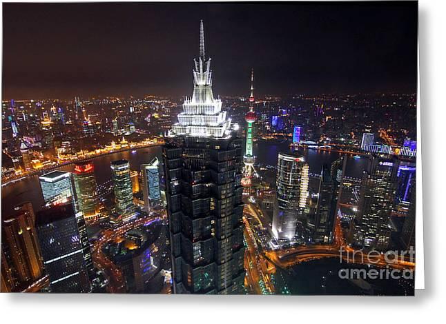 Shanghai China Greeting Cards - Shanghai at Night Greeting Card by Lars Ruecker