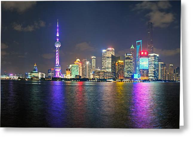 Reflection In Water Greeting Cards - Shanghai At Night Greeting Card by Ulrich Schade