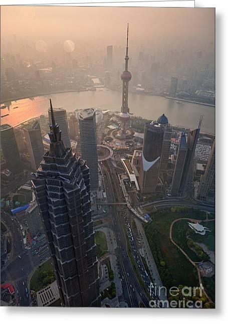 Carbon Dioxide Greeting Cards - Shanghai China Greeting Card by Fototrav Print