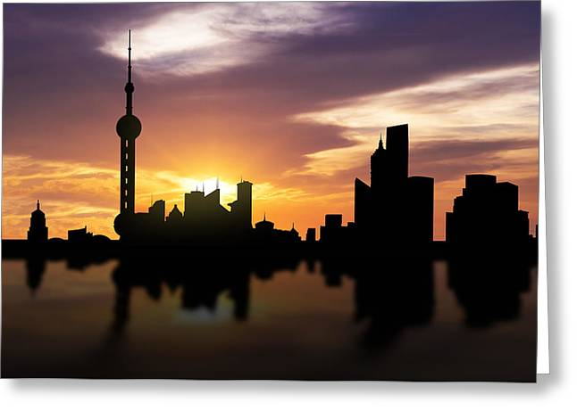Bund Greeting Cards - Shanghai China Sunset Skyline  Greeting Card by Aged Pixel