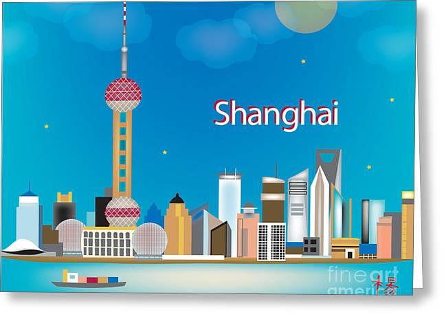Huangpu River Greeting Cards - Shanghai Greeting Card by Karen Young