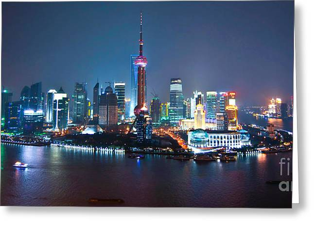 Pudong Greeting Cards - Shanghai panorama Greeting Card by Delphimages Photo Creations