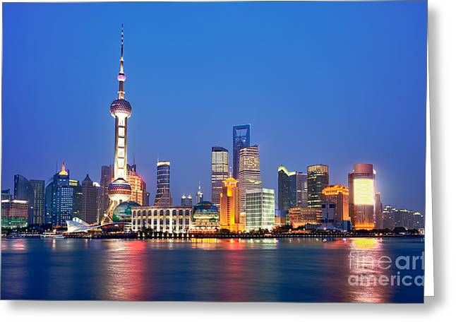 Pudong Greeting Cards - Shanghai Pudong cityscape at night Greeting Card by Fototrav Print