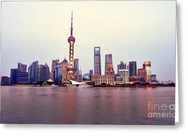Shanghai Pudong Cityscape At Sunset Greeting Card by Fototrav Print