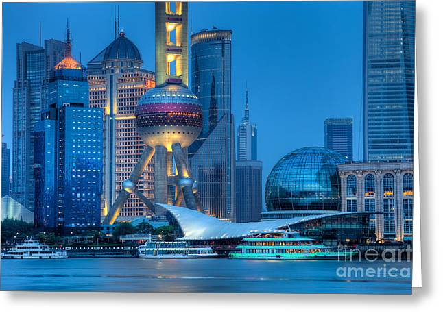 Pudong Greeting Cards - Shanghai Pudong Greeting Card by Fototrav Print