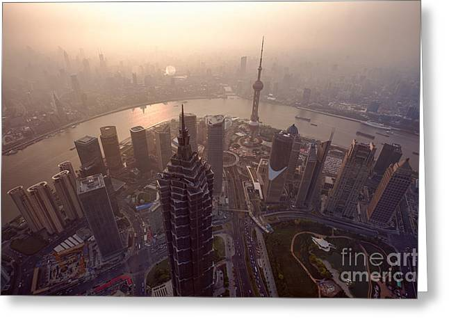 Carbon Dioxide Greeting Cards - Shanghai Pudong skyline China Greeting Card by Fototrav Print