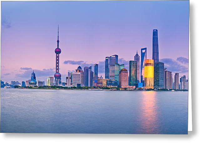 Bund Shanghai Greeting Cards - Shanghai Pudong Skyline  Greeting Card by Ulrich Schade