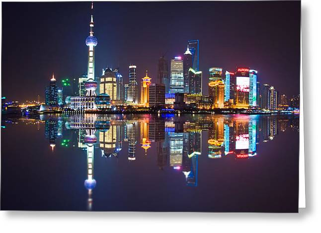 Bund Shanghai Greeting Cards - Shanghai reflections Greeting Card by Delphimages Photo Creations