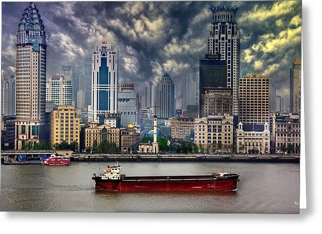 Huangpu River Greeting Cards - Shanghai River Walk Greeting Card by Russ Harris