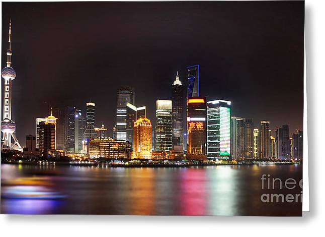 Shanghai China Greeting Cards - Shanghai skyline at night Greeting Card by Delphimages Photo Creations