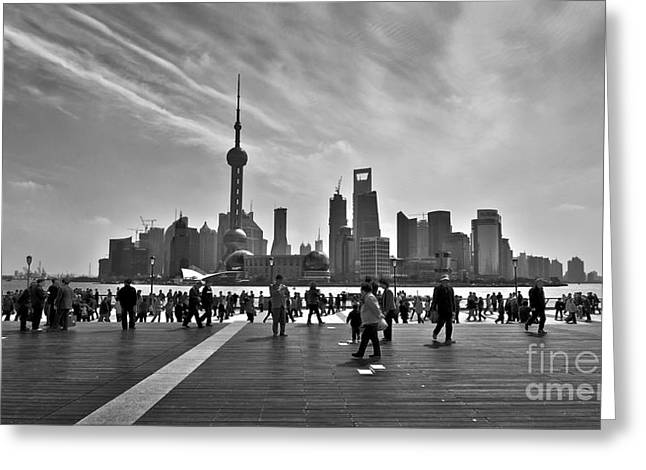 Bund Shanghai Greeting Cards - Shanghai skyline black and white Greeting Card by Delphimages Photo Creations