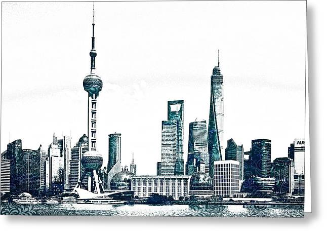 Chicago Skyline Mixed Media Greeting Cards - Shanghai Skyline Greeting Card by Celestial Images
