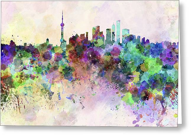 Shanghai China Greeting Cards - Shanghai skyline in watercolor background Greeting Card by Pablo Romero