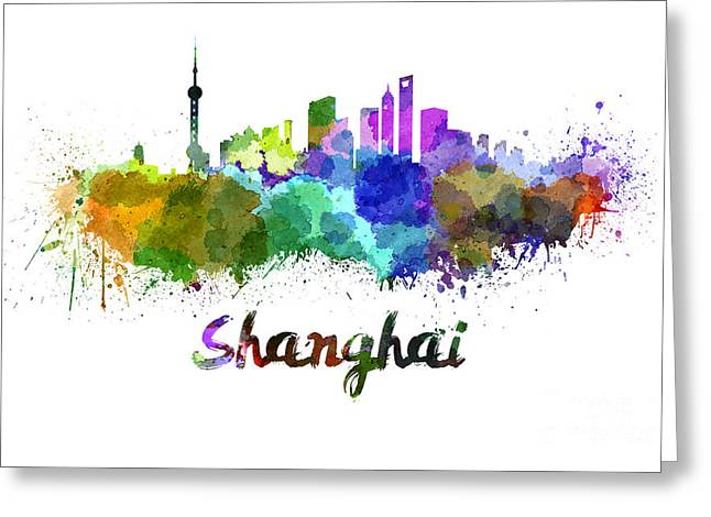 Shanghai Greeting Cards - Shanghai skyline in watercolor Greeting Card by Pablo Romero
