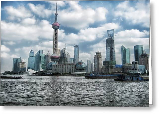 Shanghai China Greeting Cards - Shanghai Skyline Greeting Card by Mountain Dreams
