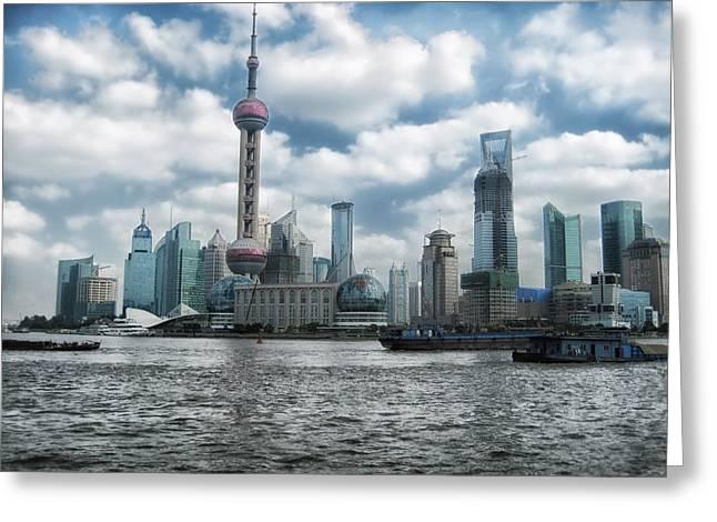 Shanghai China Greeting Cards - Shanghai Skyline Greeting Card by Mountain Dreams