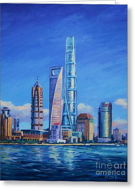 Bund Shanghai Greeting Cards - Shanghai Tower Greeting Card by John Clark