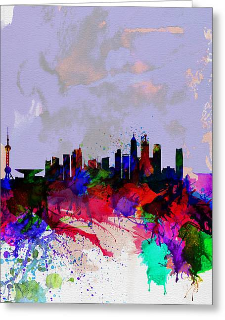 Downtown Digital Greeting Cards - Shanghai Watercolor Skyline Greeting Card by Naxart Studio