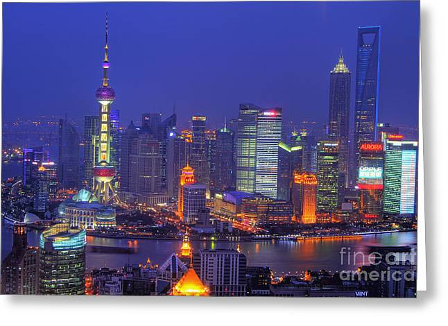 Pudong Greeting Cards - Shanghais Skyline Greeting Card by Lars Ruecker