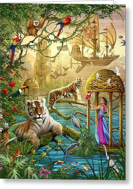 Tiger Illustration Greeting Cards - Shangri La Summer Greeting Card by Ciro Marchetti