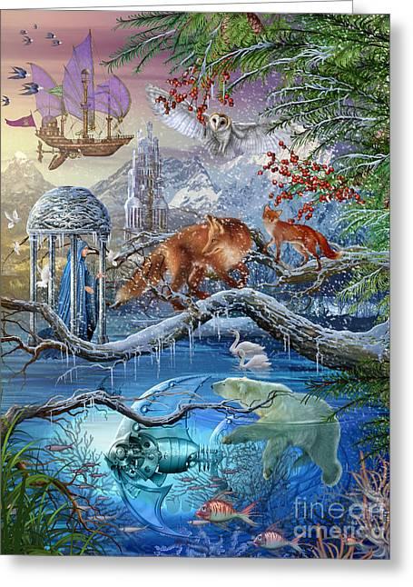 Flying Animal Greeting Cards - Shangri La Winter Greeting Card by Ciro Marchetti