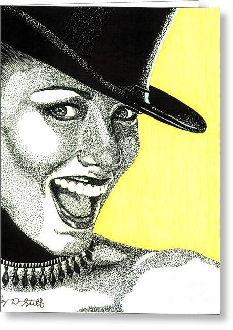 Pen And Ink Portraits Greeting Cards - Shania Twain Greeting Card by Cory Still