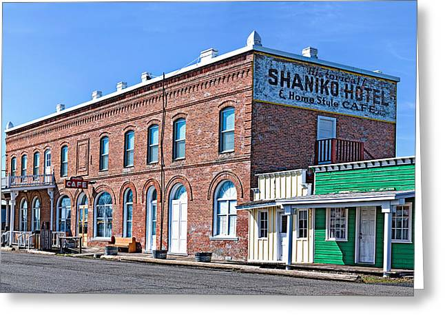 The Western Hotel Greeting Cards - Shaniko Hotel and Home Style Cafe Greeting Card by Leah McDaniel