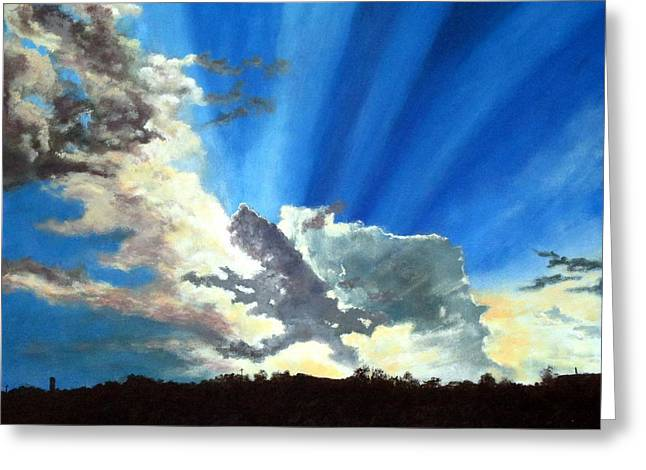 Cushion Paintings Greeting Cards - Shannons Sky Greeting Card by Michael Dillon