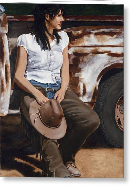 Arizona Cowgirl Greeting Cards - Shanti Waiting Greeting Card by Jack Atkins