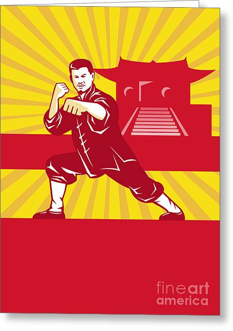 Punching Digital Greeting Cards - Shaolin Kung Fu Martial Arts Master Retro Greeting Card by Aloysius Patrimonio