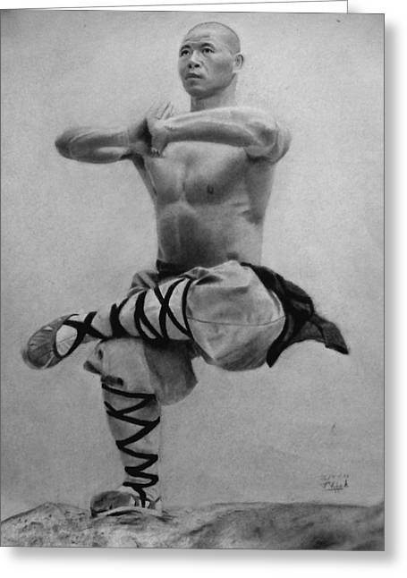 Wellbeing Drawings Greeting Cards - Shaolin Monk Greeting Card by Vishvesh Tadsare